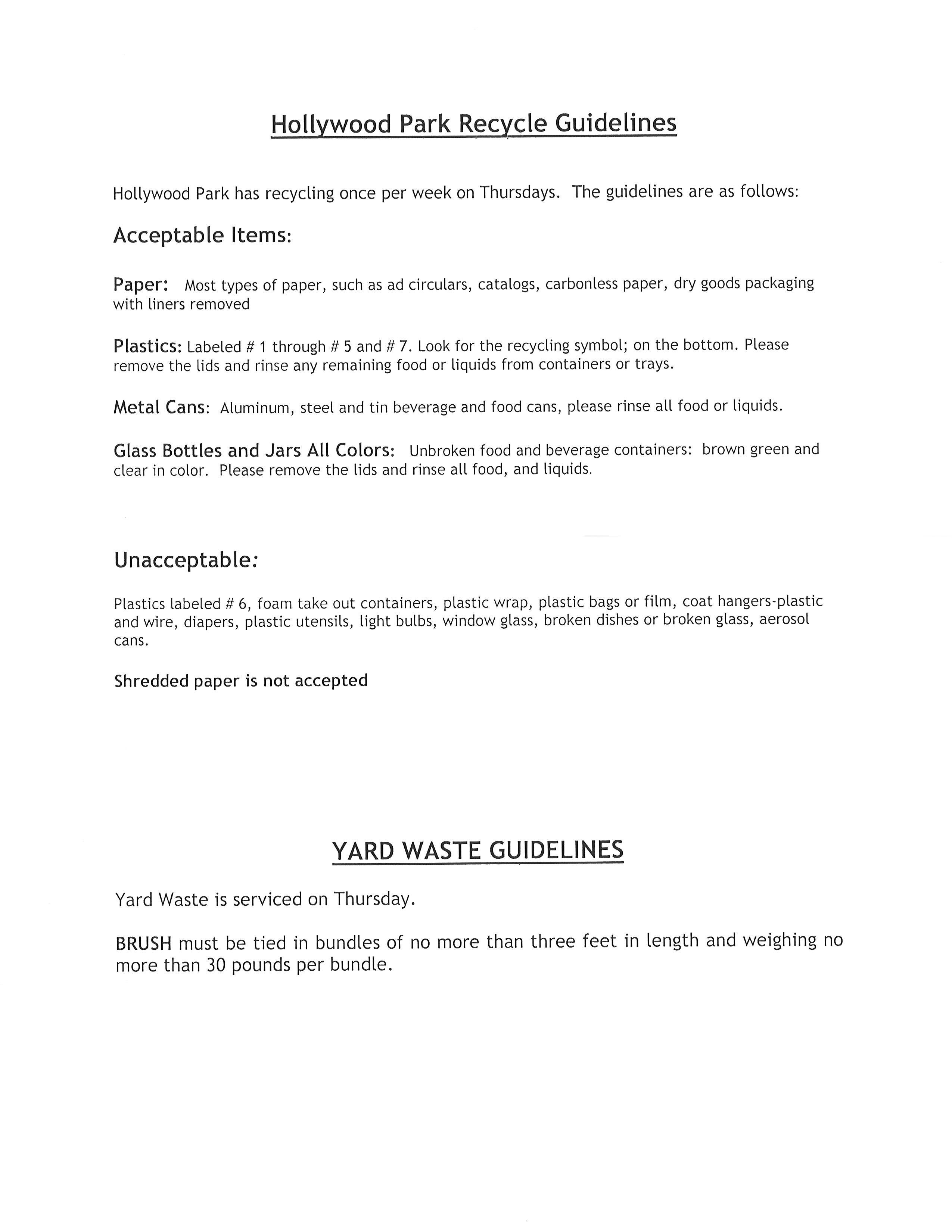 Recycle Guidlines Town Of Hollywood Park The Official Website